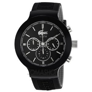 Lacoste Borneo Chronograph Black Dial Black Silicone Mens Watch 2010651