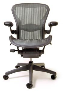 Aeron Chair - Highly Adjustable Graphite Frame - Lead Classic (Large) by Herman Miller