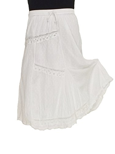 Long White Lace Trimmed Skirt - Large Size #210345