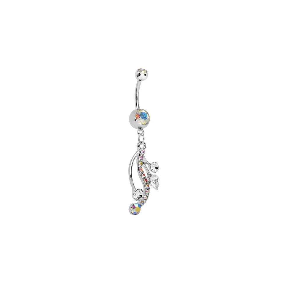 Aurora Gem Swirling Bubbles Dangle Belly Ring Body Candy Jewelry