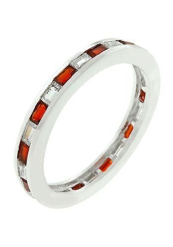 Whitegold Rhodium Bonded Stacker Eternity Ring featuring Channel Set rotating Ruby and Clear CZ Baguettes Embeded in the Band - Rhodium - Shiny