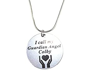 I Call My Guardian Angel Colby Message Necklace Stainless Steel 20