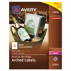** Textured Arched Easy Peel Labels, 4-3/4 x 3-1/2, White, 40/Pack **
