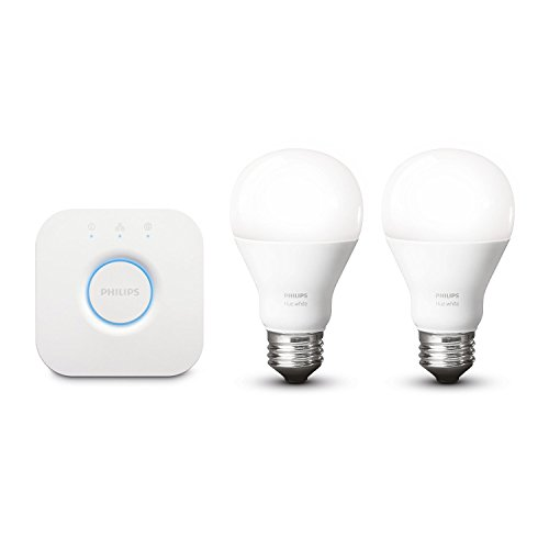 Philips Hue White LED Lampe , EEK A+, 9,5 W A60 E27 Starter Set inklusive Bridge, 2-er Set, dimmbar, app-gesteuert 8718696449615