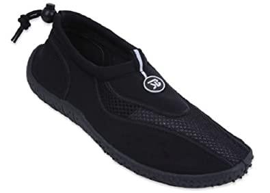 New Mens Slip on Water Pool Beach Shoes Aqua Socks (7, Black 5907)