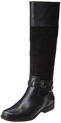 AK Anne Klein Women's Coldfeet Leather Riding Boot, Black Combo, 5 M US