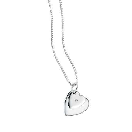 silver diamond set child's double heart necklace - D for Diamond