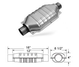 Magnaflow 94006 Standard Oval Universal Catalytic Converter 2.5in. Inlet/Outlet, 12in. Body; 16in. Overall; 6.5in. Wide Description change to:Standard Oval; 6.2L/6000lbs. EPA; 2.5in. Inlet/Outlet, 12in. Body; 16in. Overall; 6.5in. Wide