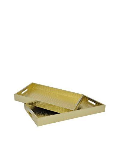 Three Hands Set of 2 Croco Trays, Gold