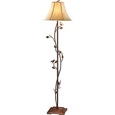 Antique Finished Metal Birds & Vines Floor Lamp