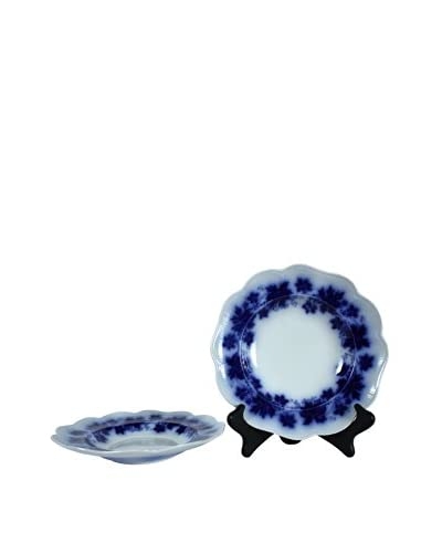 Pair of Flow Blue Vinranka Rim Soup Bowls, Blue/White