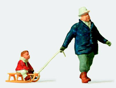 MAN TOWING CHILD ON SLED - PREISER HO SCALE MODEL TRAIN FIGURES 28078 (Preiser Figure compare prices)