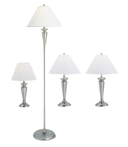 Grandrich G-4411-4 Lighting Set with One Floor Lamp, Two Table Lamps, and One Accent Lamp, Satin Steel with White Shade