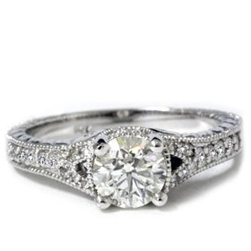 1.33CT SI Round Vintage Diamond Engagement 14K Ring New