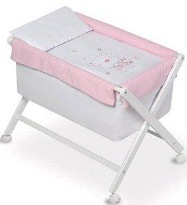 Pirulos 28400513–Minicuna pieghevole forbici Miele, motivo orsetto Star, 68x 90X71cm, colore: bianco/rosa