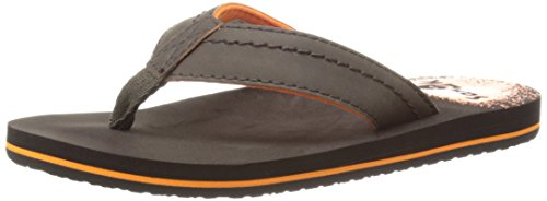 Sanuk Kids Straight Shot Boys Flip Flop ,Brown,12-13 M US Li