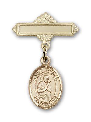 Gold Filled Baby Badge with St. Isaac Jogues Charm and Polished Badge Pin St. Isaac Jogues is the Patron Saint of The Americas