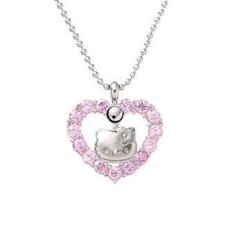 Hello Kitty Pink Crystal Heart Necklace