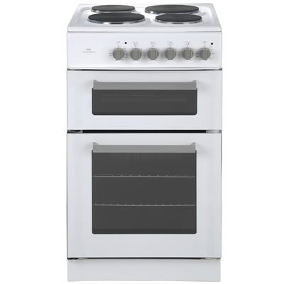 New World Ltd 50ET WHITE 500mm Twin Cavity Electric Cooker Solid Plate Hob White