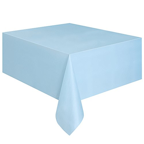 Plastic Table Cover, 54-Inch by 108-Inch, Baby Blue