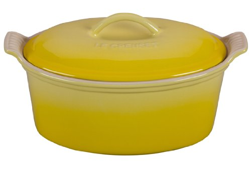 Le Creuset Heritage Stoneware Covered Oval Terrine, 1-1/5-Quart, Soleil