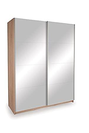 Seattle 2 Door 1.5M Oak Sliding Wardrobe - Double Mirrored Doors W:151 x D:60 x H:196cm