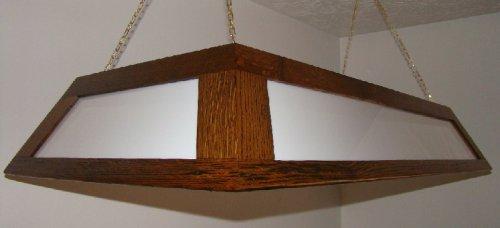 Antique Oak Hanging Pool Table Light Billiards Double Wide Lamp
