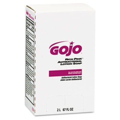RICH PINK Antibacterial Lotion Soap Refill, 2000mL, Pink, 4/Carton, Sold as 1 Carton by Gojo