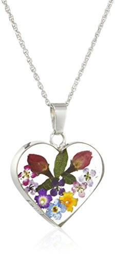 Sterling Silver Multicolor Pressed Flower Heart Pendant Necklace (Pressed From compare prices)