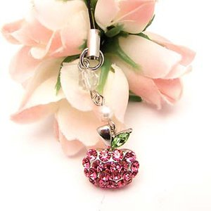 Pink Apple Charm for Cell Phones, Purses, iPods