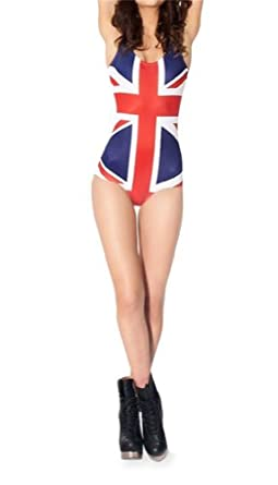Digital Printing British flag Pattern Women Tight Stretch One Piece Swimsuit