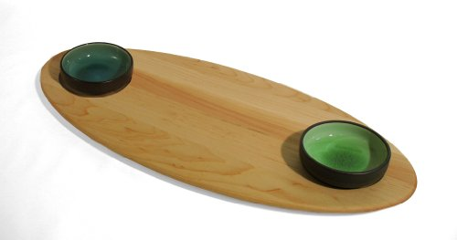 J.K. Adams 20-Inch-By-9-Inch Solid Maple Double-Dish Bread And Oil Serving Board, Ceramic Bowls Included