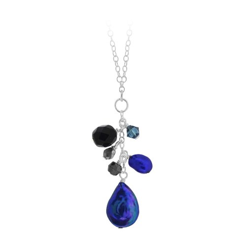 Sterling Silver Multi-Blue Freshwater Pearl and Crystal Cluster Drop Pendant Necklace, 18