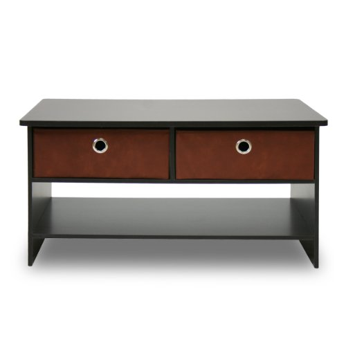 Furinno 10003EX/BR Espresso Finish Living Set, Center Coffee Table with 4 Bin-Type Drawers image