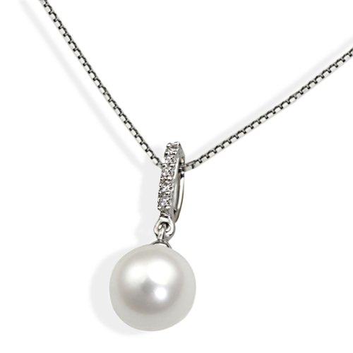Goldmaid Damen-Halskette 9 Karat 375 Weißgold 1 Perle 5 Diamanten 0,03 ct. 45 cm Gr. Pe C3601WG