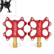 KACTUS Bike MTB BMX Platform Flat Pedals CNC Gold-plating Stainless Steel Axle(Red)