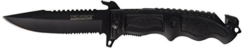 TAC Force TF-711BK Assisted Opening Folding Knife, Black Half-Serrated Blade, Black Handle, 5-Inch Closed