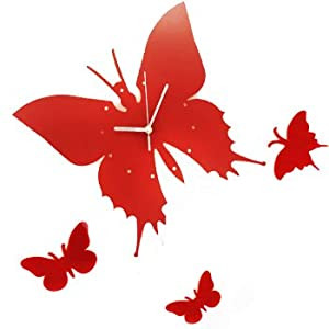 Amazon.com: kilofly Time Flies with Butterfly DIY Wall Clock, Red ...