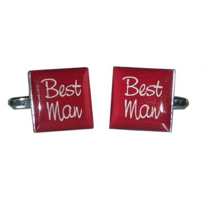 Best Man Burgundy Square Wedding Cufflinks X2BOCW007