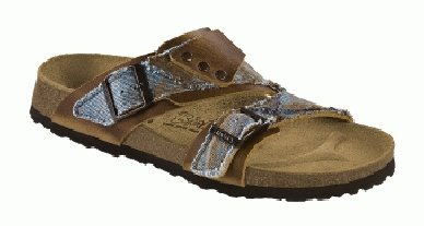 Cheap Birkis slippers Finn in size 36.0 N EU made of Leather/Textile in Brown/Denim Blue with a narrow insole (B005Q74RDS)