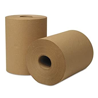 "Wausau Paper 46000 EcoSoft Universal Roll Towels, 8"" Width x 425' Length roll, Natural (Pack of 12)"