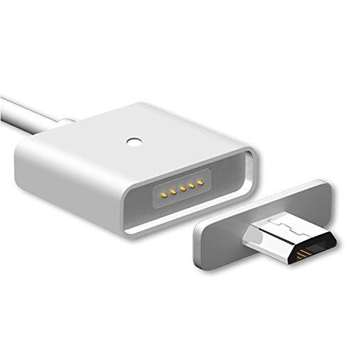 WSKEN Micro USB 充電 ケーブル データ転送ケーブル 2.4A 急速充電 マグネット充電ケーブル LED付き マイクロUSB充電端子 Asus, Huawei, Samsung, HTC, Nokia, Sony, docomo, 等 Android 機器に対応 (100cm, シルバー)