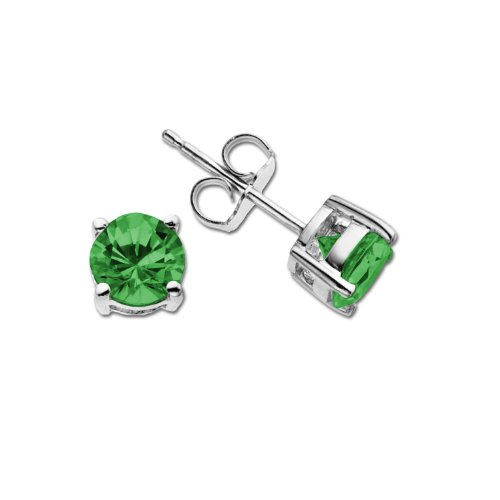 Sterling Silver Round Solitaire Emerald Stud Earrings