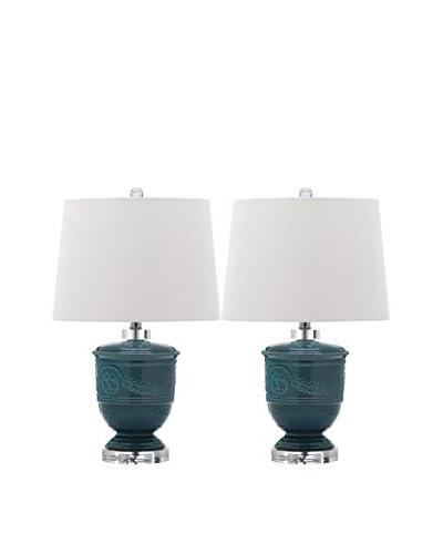 Safavieh Set of 2 Shoal Table Lamps, White/Blue