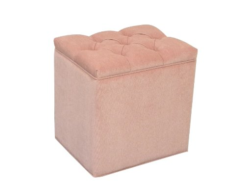 Storage Ottoman Pouffe Seat Stool Box in Pink Chenille Fabric