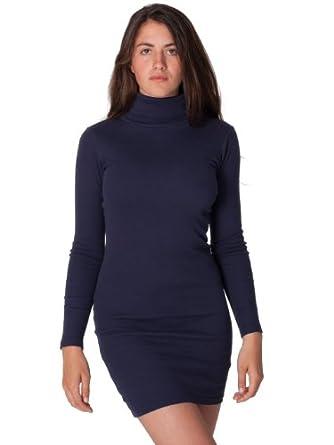 American Apparel Solid Rib Turtleneck Dress - Navy / XS