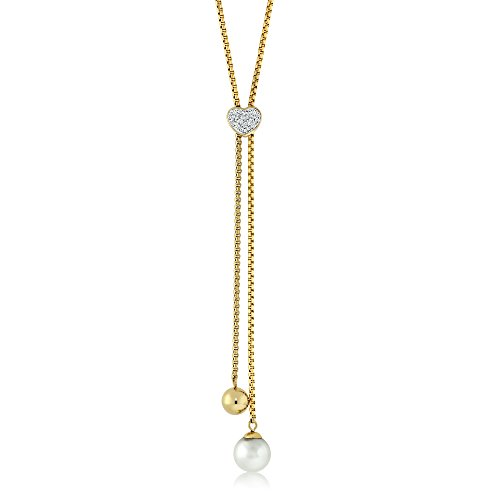 32 Inch Stunning Yellow Gold-Plated Stainless Steel Adjustable Heart Shape Necklace Made with Swarovski Zirconia (Gem Stone King Bead Bracelet compare prices)