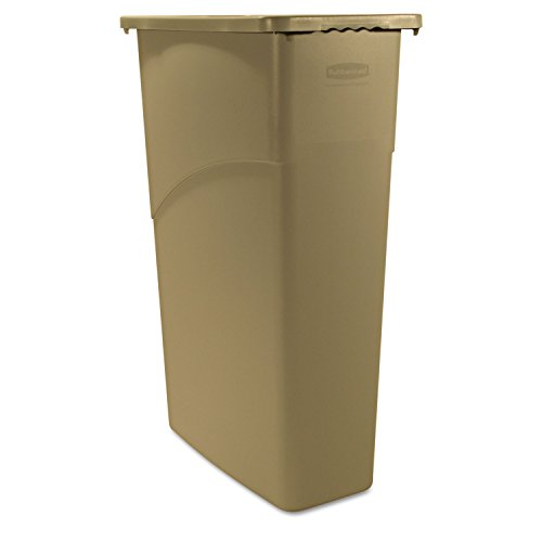 Rubbermaid Commercial Slim Jim Waste Container, Rectangular, Plastic, 23 Gallons, Beige (354000BG) (Commercial Garbage Container compare prices)