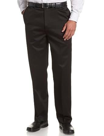 Savane Men's Flat Front No-Iron Twill Pant, Black, 32W 30L