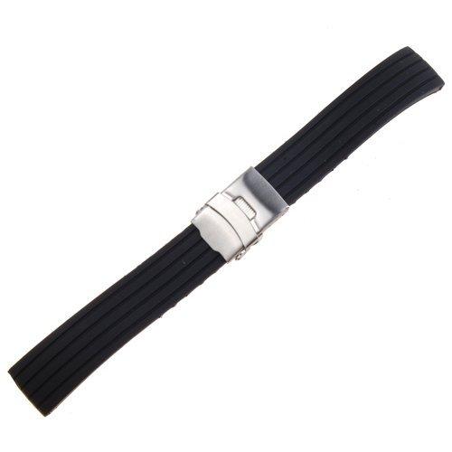 schwarz-silicone-rubber-uhrenarmbander-uhrenarmband-faltschliesse-wasserdicht-band-20mm